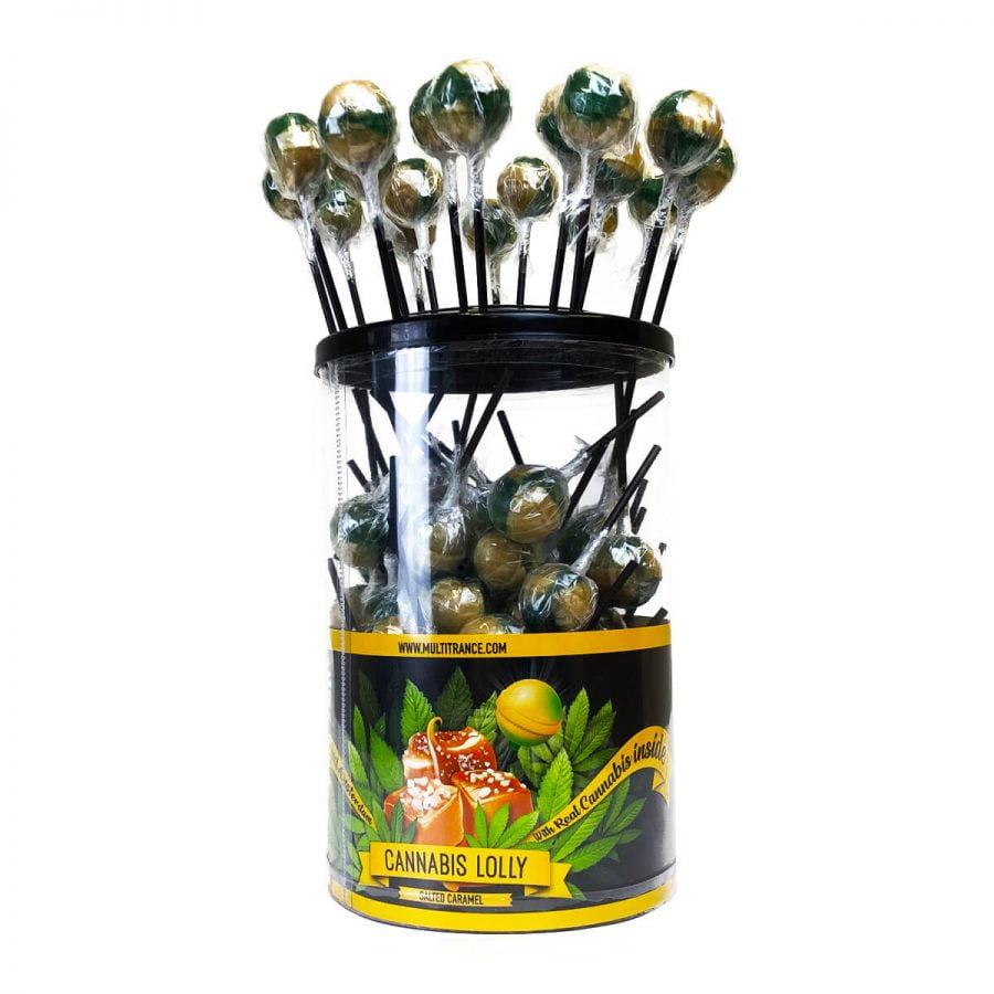 Cannabis lollipops Salted Caramel THC free (100pcs/display)