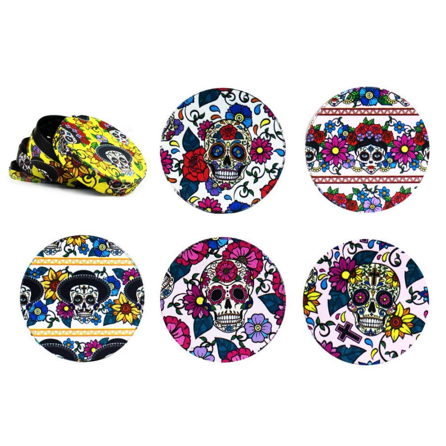Colorful Mexican Skulls Metal Grinder Mixed Designs 4 Parts - 50mm (6pcs/display)