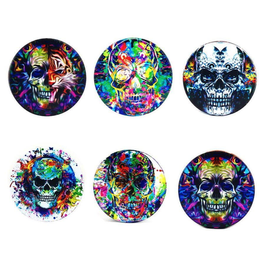 Psy Flames Skulls Metal Grinder Mixed Designs 4 Parts - 50mm (6pcs/display)