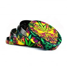 Psy Weed Leaves Metal Grinder Mixed Designs 4 Parts - 50mm (6pcs/display)