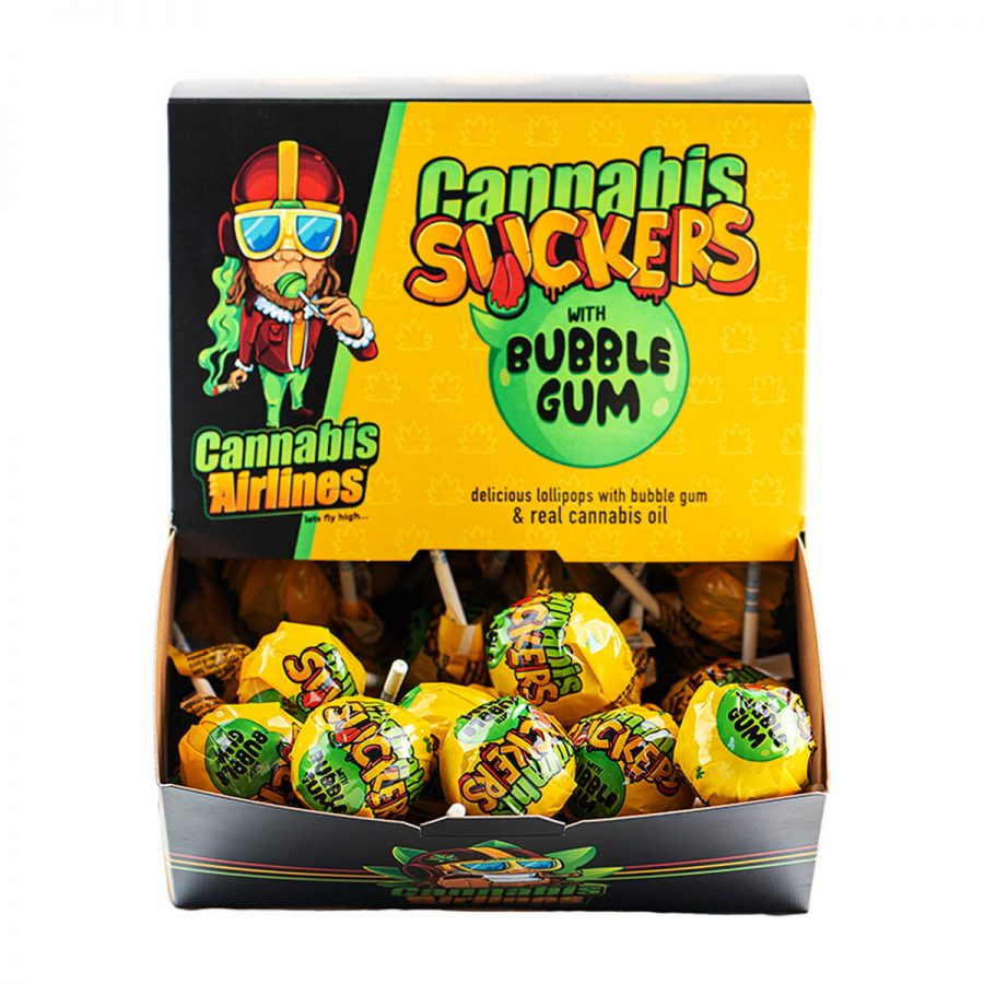 Cannabis Airlines Cannabis Suckers Lollipops with Bubble Gum THC Free (50pcs)