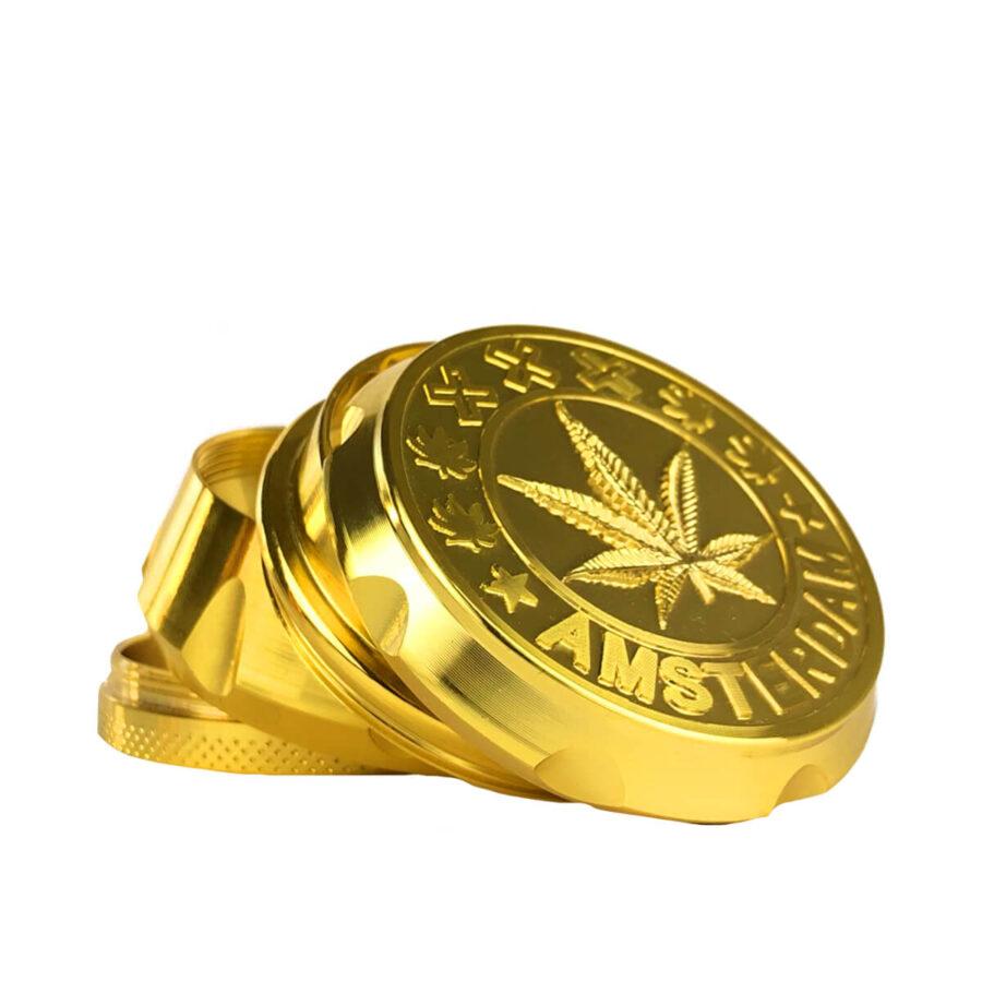 Metal Grinder Amsterdam XXX Gold 4 Parts - 55mm (12pcs/display)