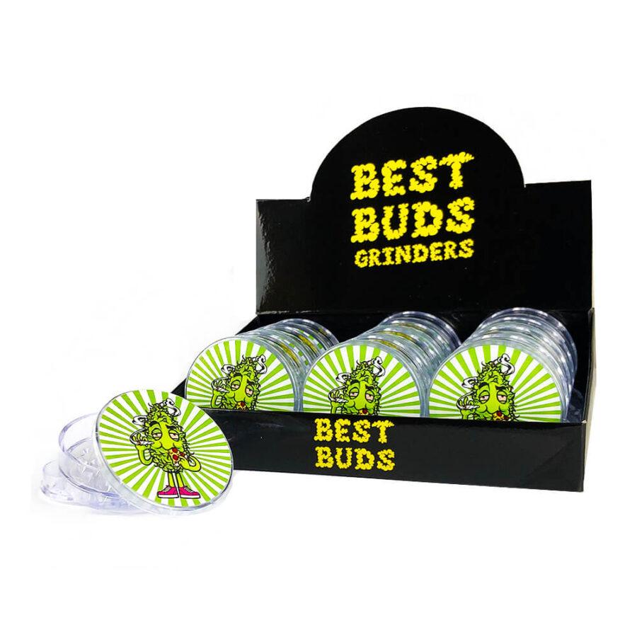 Best Buds Plastic Grinders Pizza 3 Parts - 50mm (12pcs/display)