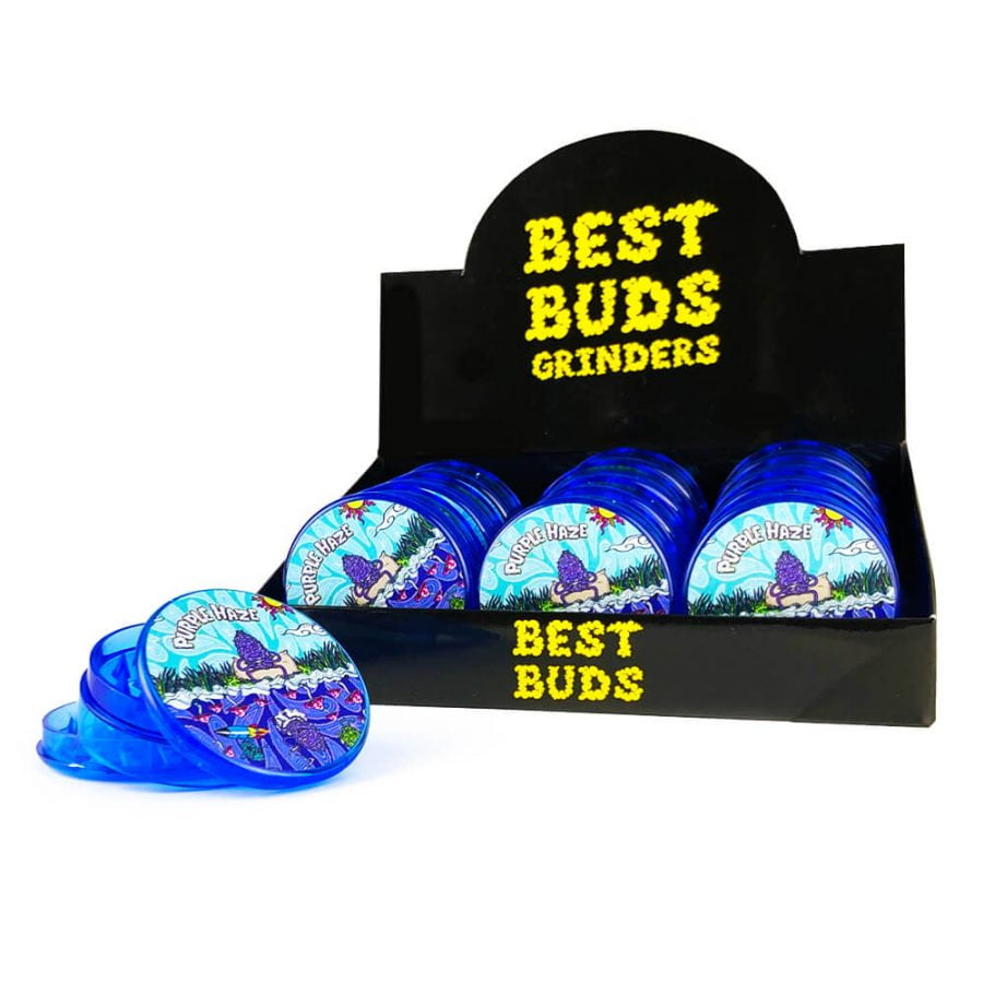 Best Buds Plastic Grinders Purple Haze 3 Parts - 50mm (12pcs/display)