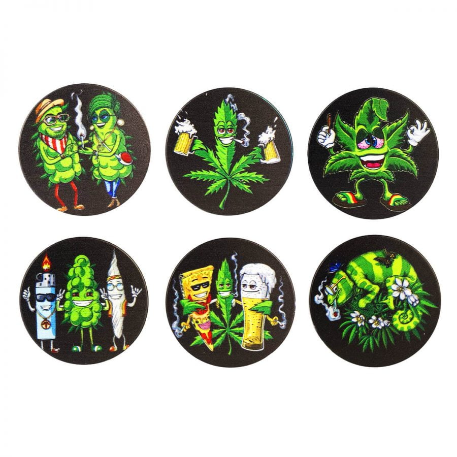 Metal Grinder Buds Family Mix Designs 4 Parts - 50mm (12pcs/display)