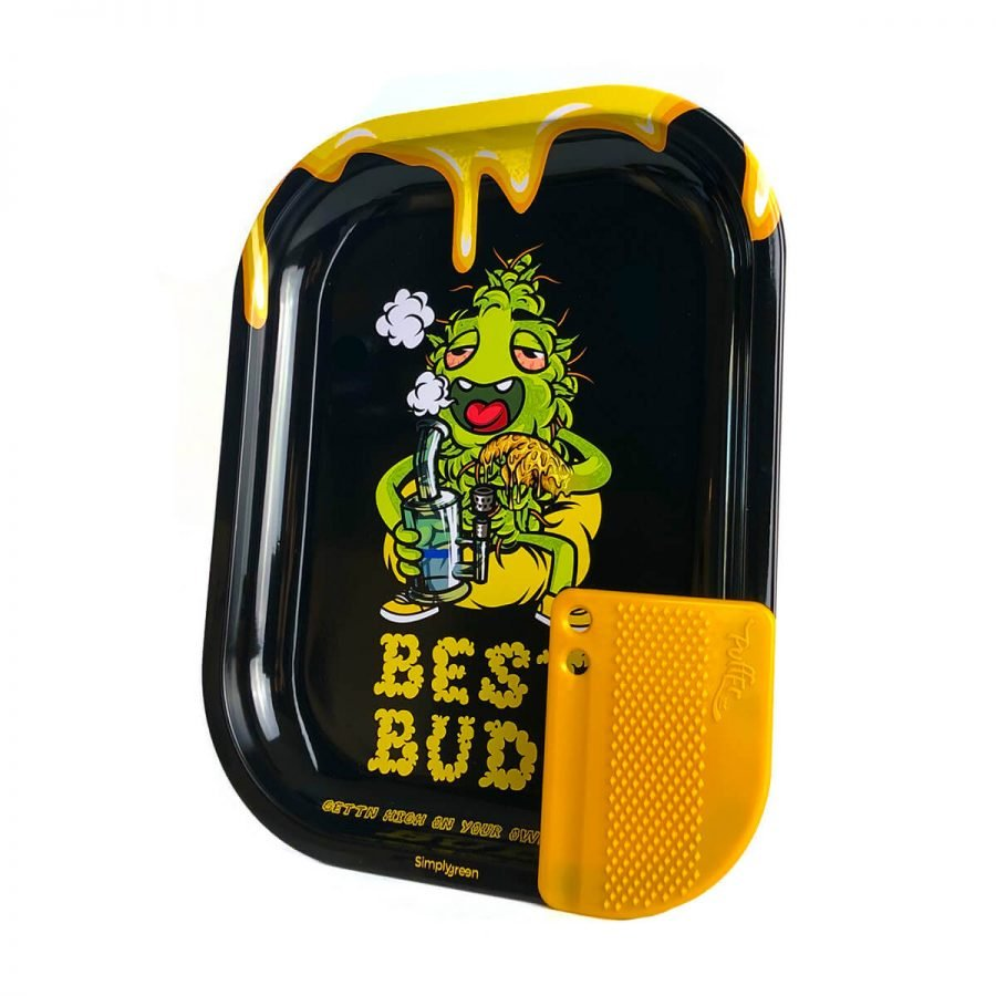 Best Buds - Dab-All-Day Small Metal Rolling Tray + Magnetic Grinder Card