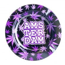 Amsterdam Purle Weed Leaves Metal Ashtray