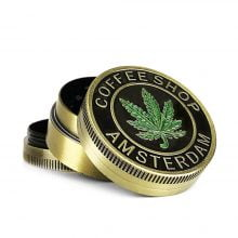 Metal gold Grinder green Leaf 3 Parts – 40mm (12pcs/display)