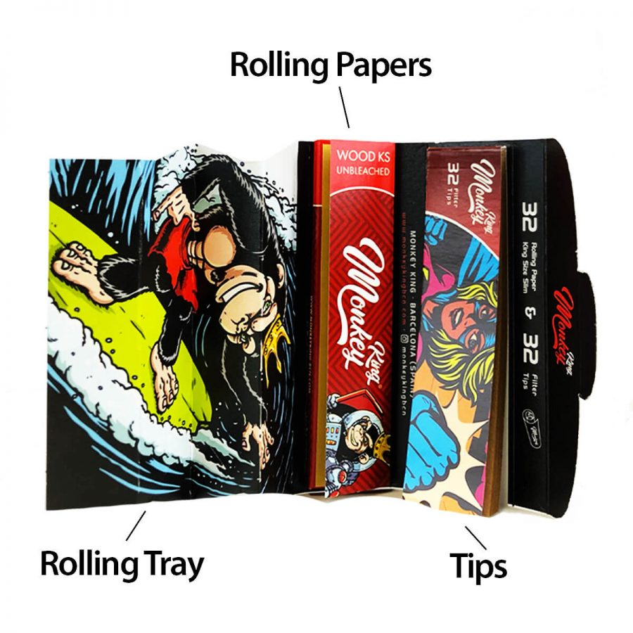 Monkey King Mixer Pack Rolling Papers with Tips and Rolling Tray (24pcs/display)