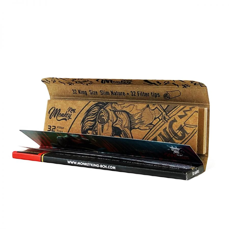 Monkey King Woodpack Unbleached Rolling Papers with Tips (24pcs/display)
