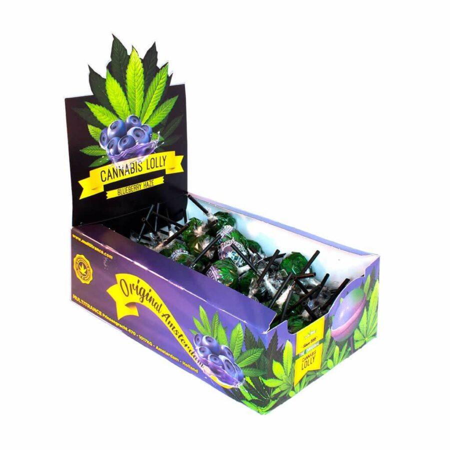 Cannabis lollipops box Blueberry Haze THC free (70pcs/display)