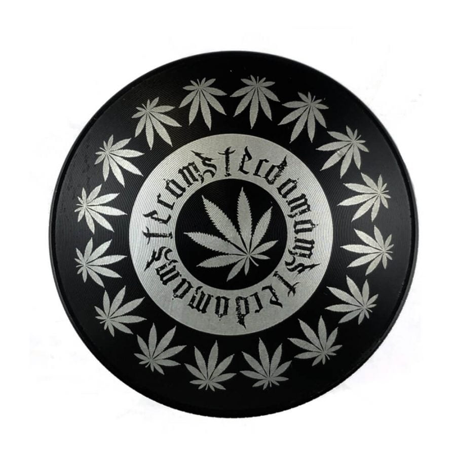 Metal Grinder Amsterdam Black Leaves 4 Parts - 50mm (6pcs/display)