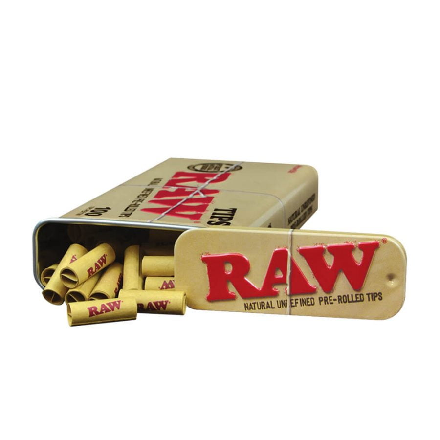 RAW Unrefined 100 Pre-Rolled Tips (6tins/display)
