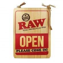 RAW Hanging Door Wood Sign Open Closed 30x38cm