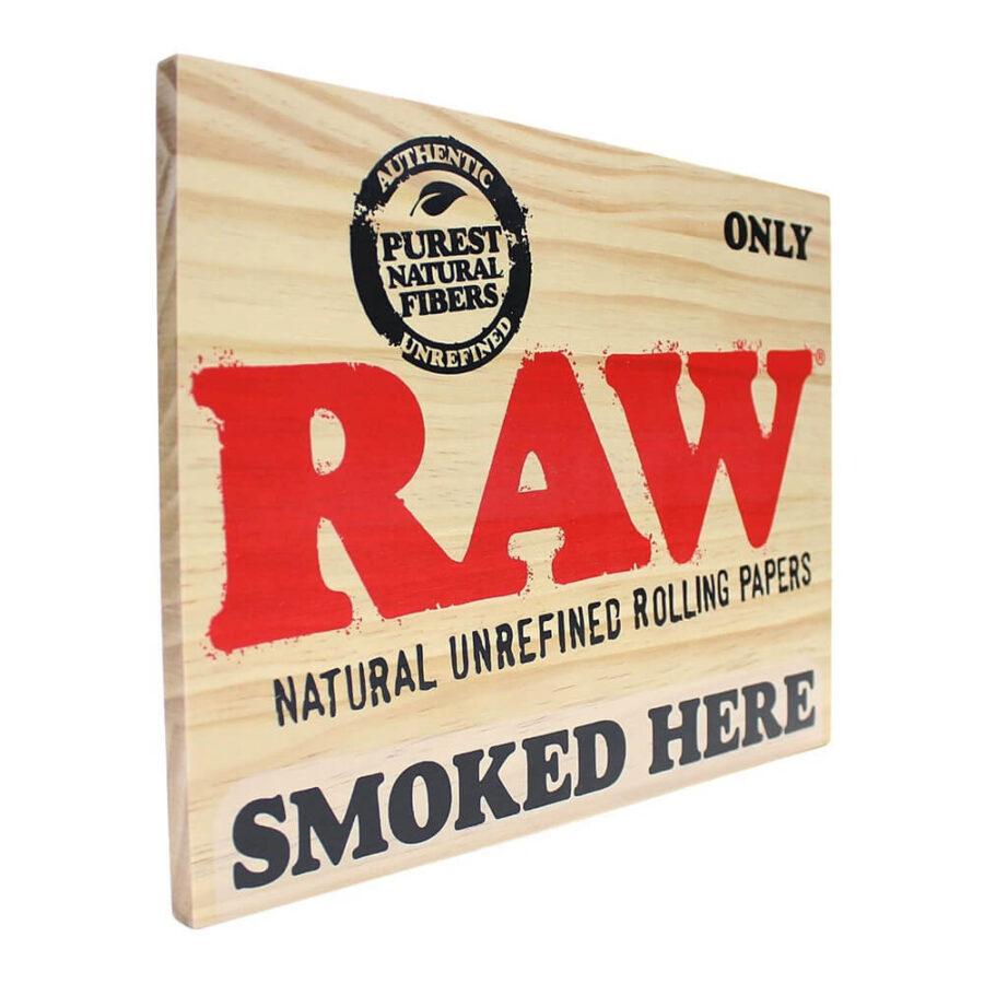 RAW Smoked Here Wood Sign 30x23cm