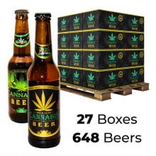 Cannabis Flavoured Beer 4.5% Mix Gold & Green Leaf 330ml (27boxes/648beers)