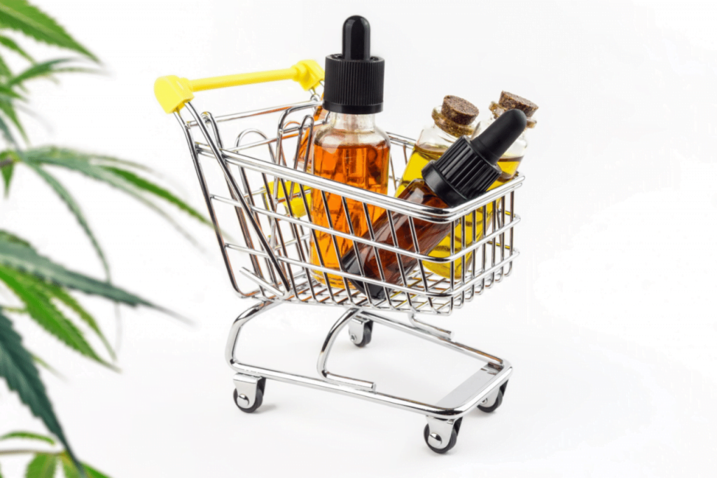 CBD products in shopping basket