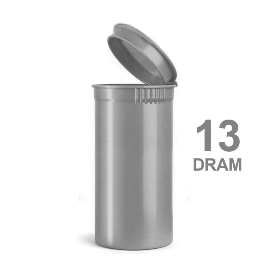 Poptop Silver Plastic Container Small 13 Dram - 35mm