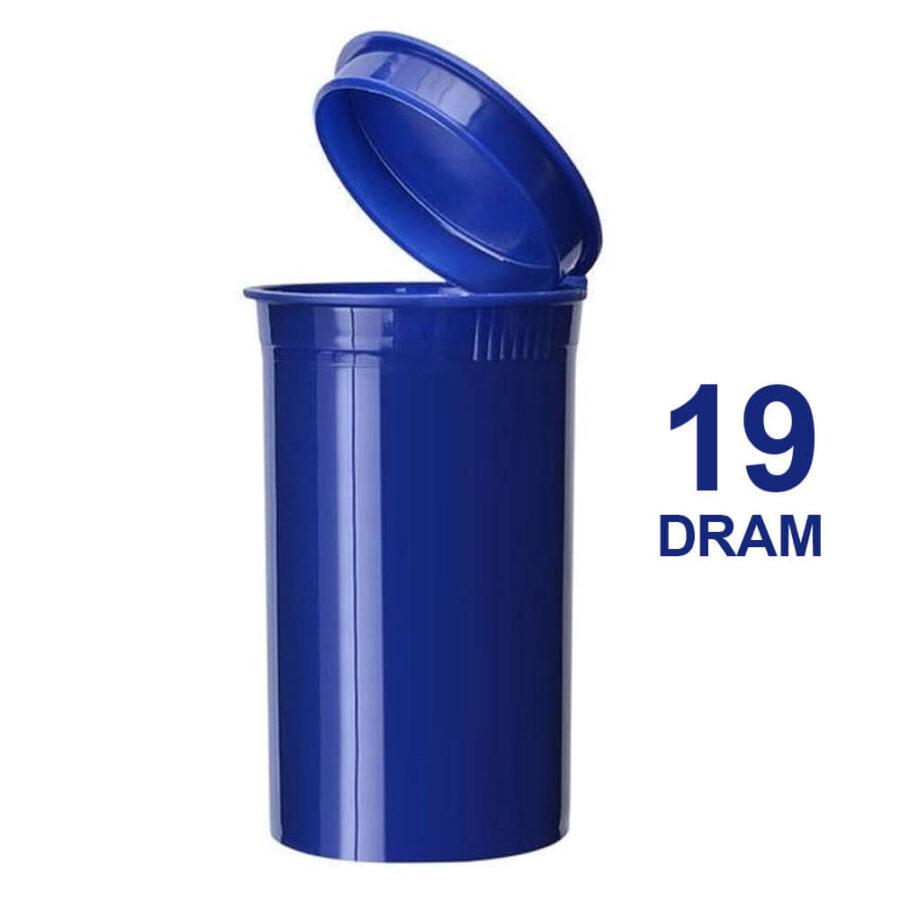 Poptop Blue Plastic Container Medium 19 Dram - 40mm