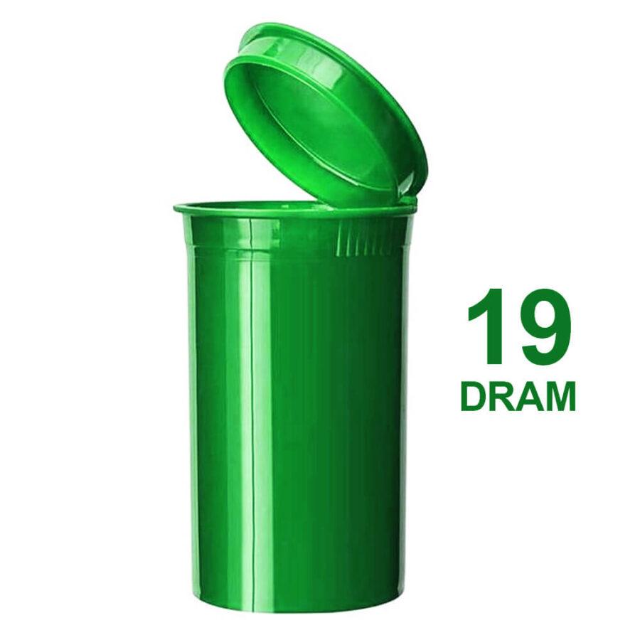 Poptop Green Plastic Container Medium 19 Dram - 40mm