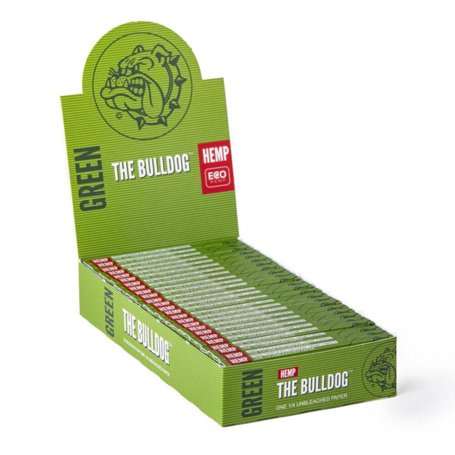 The Bulldog Green Hemp Small Rolling Papers 1/4 (25pcs/display)