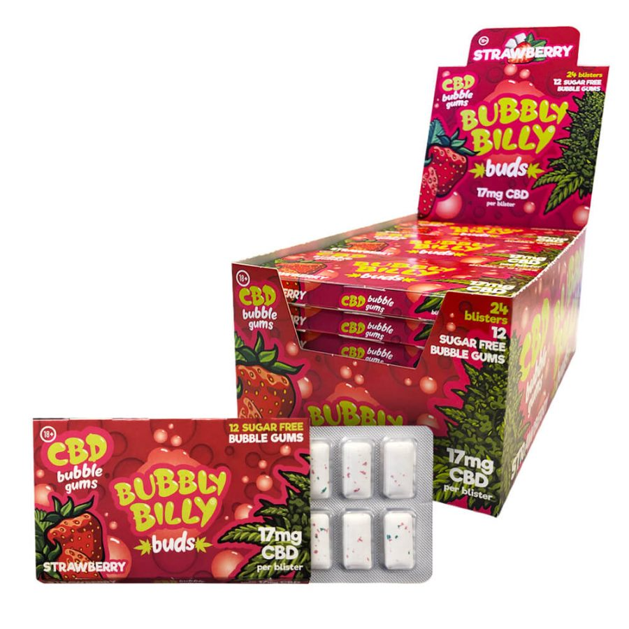 Cannabis Bubbly Billy Chewingum 17mg CBD THC Free (24pcs/display)