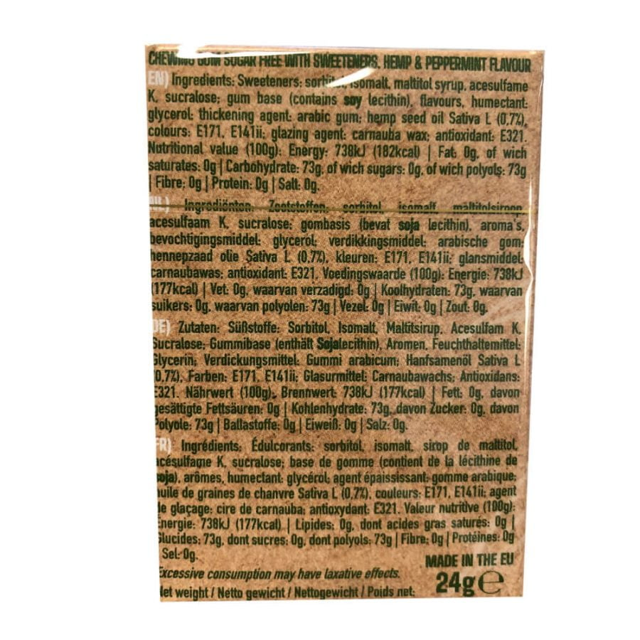 Cannabis Peppermint Hemp Chewingums THC Free (20packs/display)