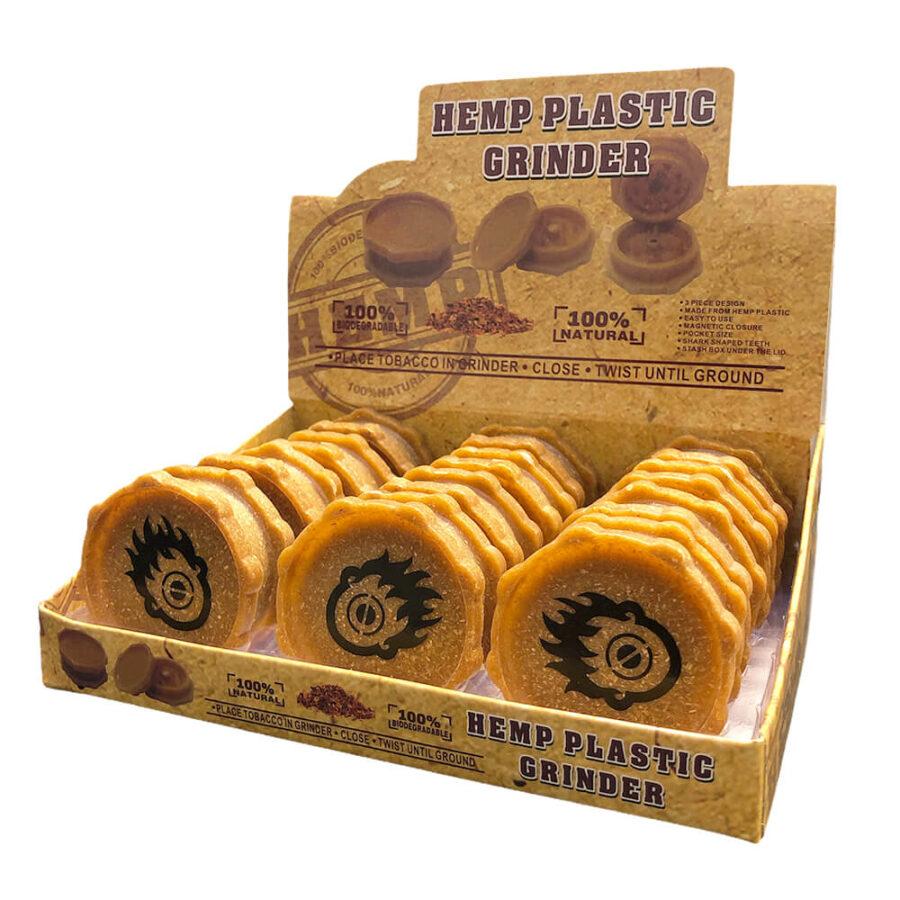 Biodegradable Hemp Grinder ZigZag 2 Parts - 50mm (12pcs/display)