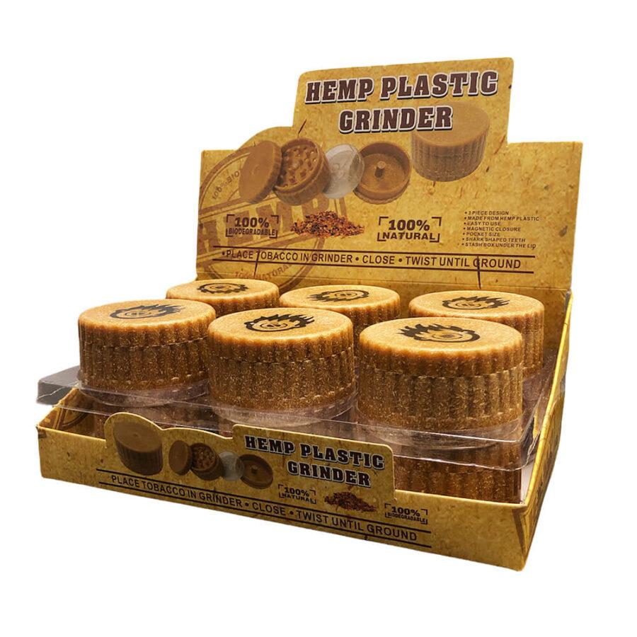 Biodegradable Hemp Grinder ZigZag 3 Parts - 60mm (12pcs/display)