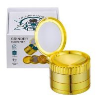 Champ High Gold Aluminium Grinder with Magnifier Glass 50mm - 4 Parts