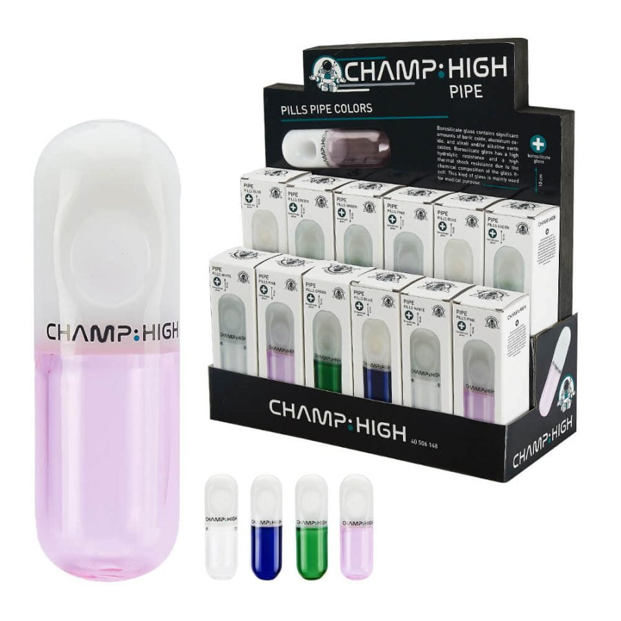 Champ High Glass Pill Pipe Mix Colors (12pcs/display)