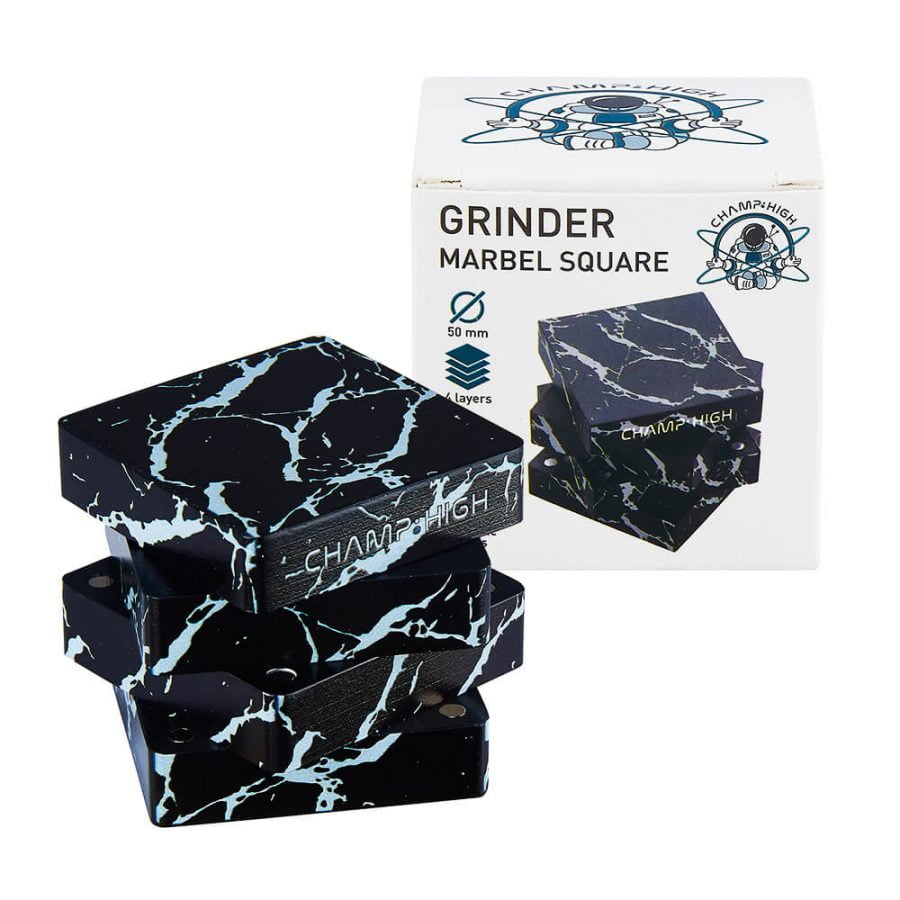 Champ High Marble Square Metal Grinder 50mm - 4 Parts