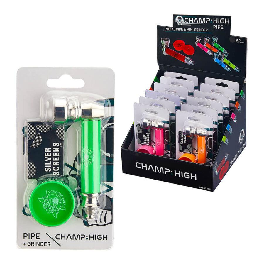 Champ High Metal Pipe + Mini Grinder Mix Colors (12pcs/display)