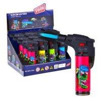 Prof Crazy Skulls Windproof Blue Flame Lighters (12pcs/display)