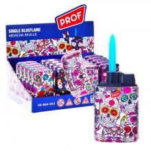 Prof Mexican Skulls Windproof Blue Flame Lighters (20pcs/display)