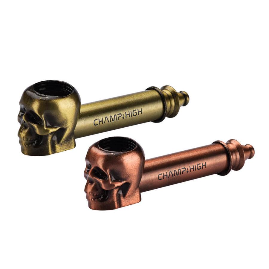 Champ High Metal Skull Pipe Gold + Bronze (12pcs/display)