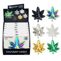 Champ High Leaf Glass Ashtrays Mix Colors (6pcs/display)