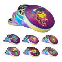 Metal Grinder Rainbow Monster Skulls 4 Parts - 50mm (6pcs/display)