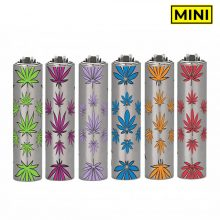 Clipper Mini accendini cover in Metallo con foglie colorate (30pezzi/display)