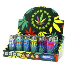 Atomic Accendini con Cover in Silicone 3D Weed Leaf (24pezzi/display)