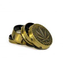 Grinder in Metallo Foglia di erba Oro + Argento 40mm - 4 parti (12pezzi/display)