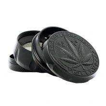 Grinder in Metallo Nero Foglia di Cannabis 40mm - 4 parti (12pezzi/display)