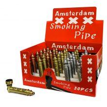 Pipa Tabacco Amsterdam in Metallo con foglie di erba incise (30pezzi/display)