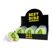 Best Buds Plastic Grinders Pizza 3 Parts - 50mm (12pcs/display)