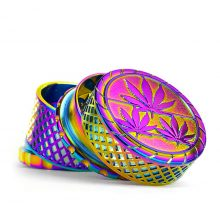 Grinder in Metallo Waffel Rainbow Leaves Fully Magnetic 4 Parti - 40mm (12pezzi/display)