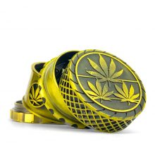 Grinder in Metallo Waffel Gold Leaves Fully Magnetic 4 Parti - 40mm (12pezzi/display)